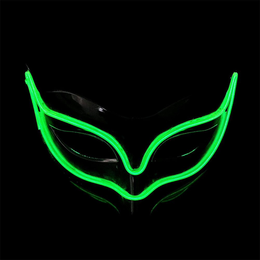 Lovely LED Neon Half Eyes mask for Halloween and Christmas Ball Party Birthday Mask Fluorescent green