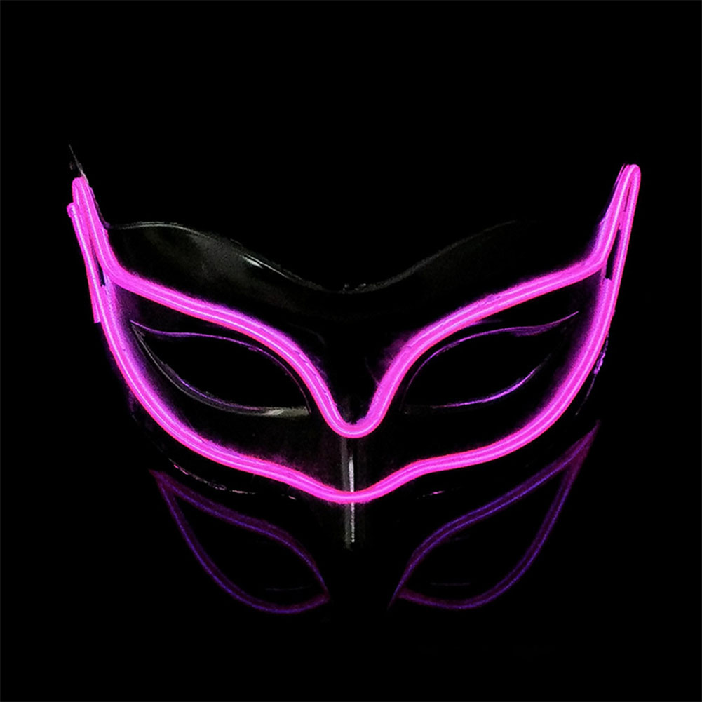 Lovely LED Neon Half Eyes mask for Halloween and Christmas Ball Party Birthday Mask Pink