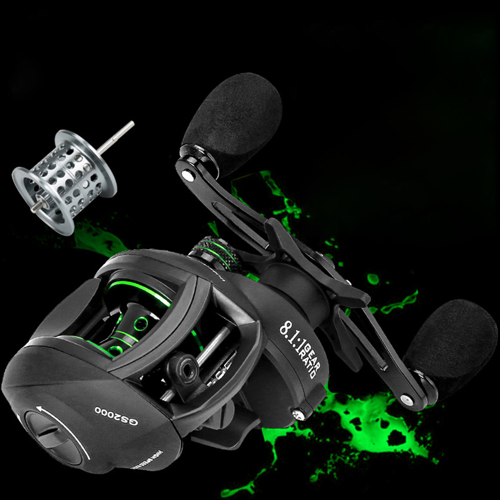 Double-line Cup Fishing Reel Right/ Left Hand Wheel Long-distance Throwing Dripping Wheel GS black and green models [right hand wheel] two wire cups