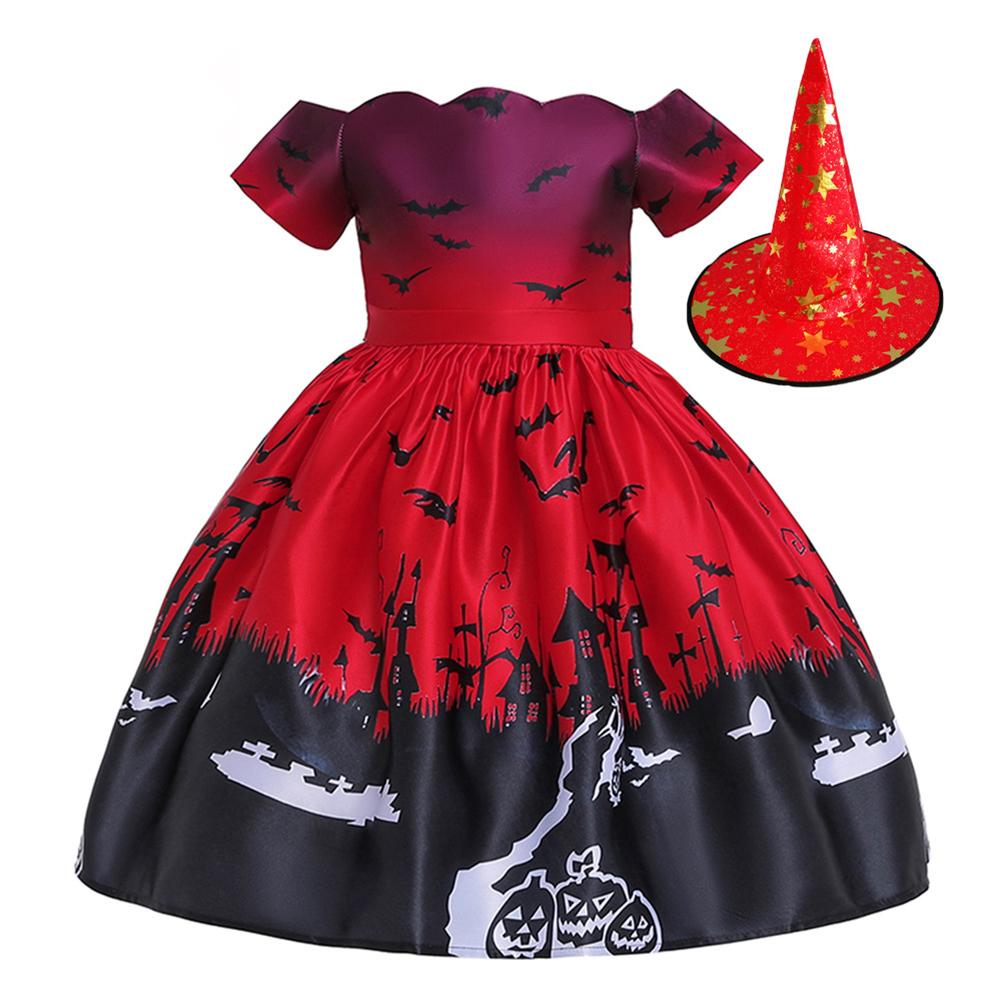 Halloween Dress Pumpkin Bat Print Princess Dress with Hat WS005-Red [with hat]_100cm
