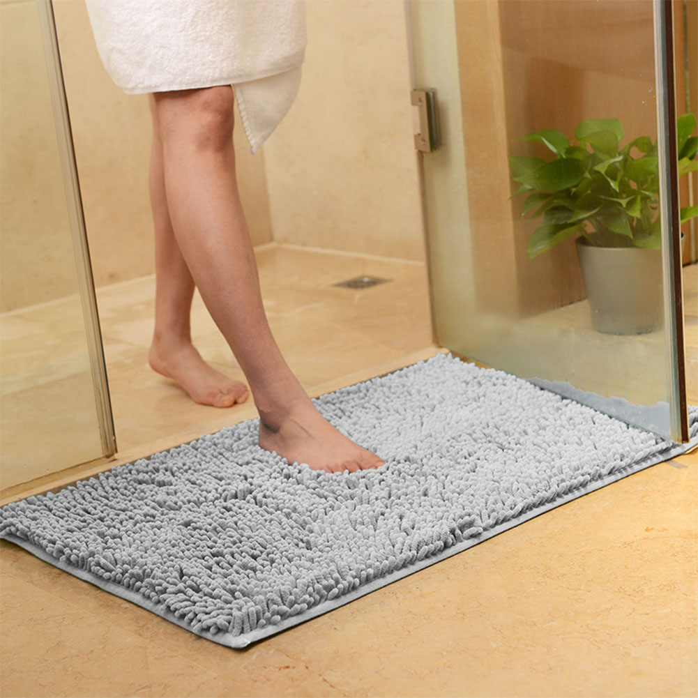 40X60CM Microfibre Non Slip Soft Carpet Water Absorbing Bathroom Shower Kitchen Rug Mat Decoration Silver Gray