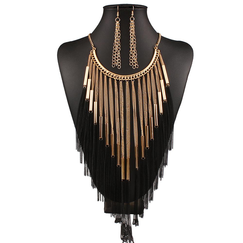 2pcs/set Women Multi-layer Fringed Diamond Necklace Earrings Set
