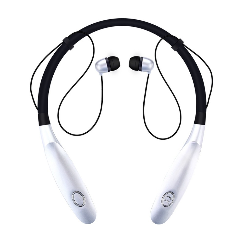TWS Bluetooth Earphone Wireless Headphones Hanging Neck Type Sports Earbuds silver