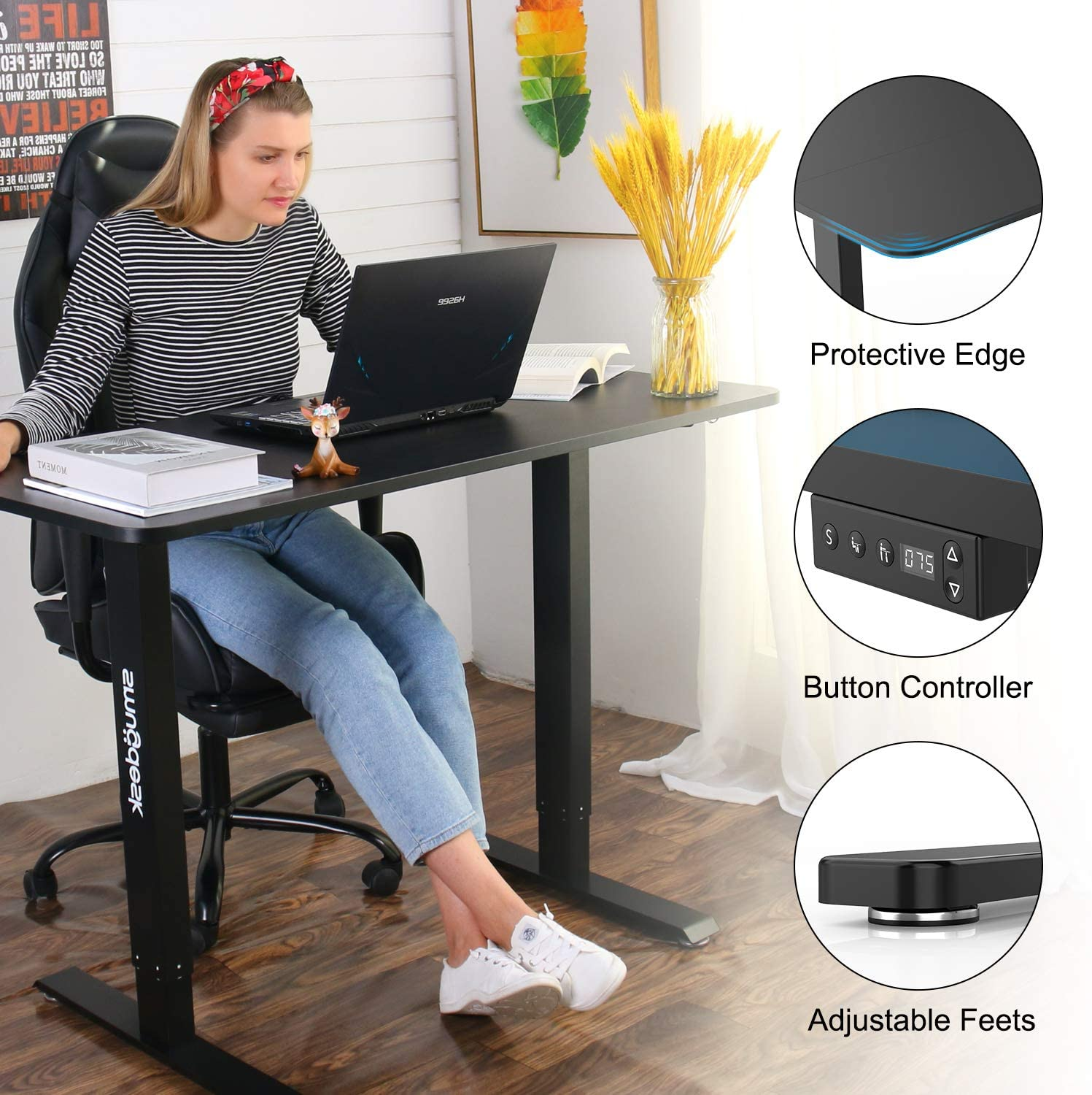 [US Direct] Original Smugdesk Standing Desk, 48 x 24 inches Computer Desk Electric Height Adjustable Table Home Office Desk with Splice Board and Black Frame