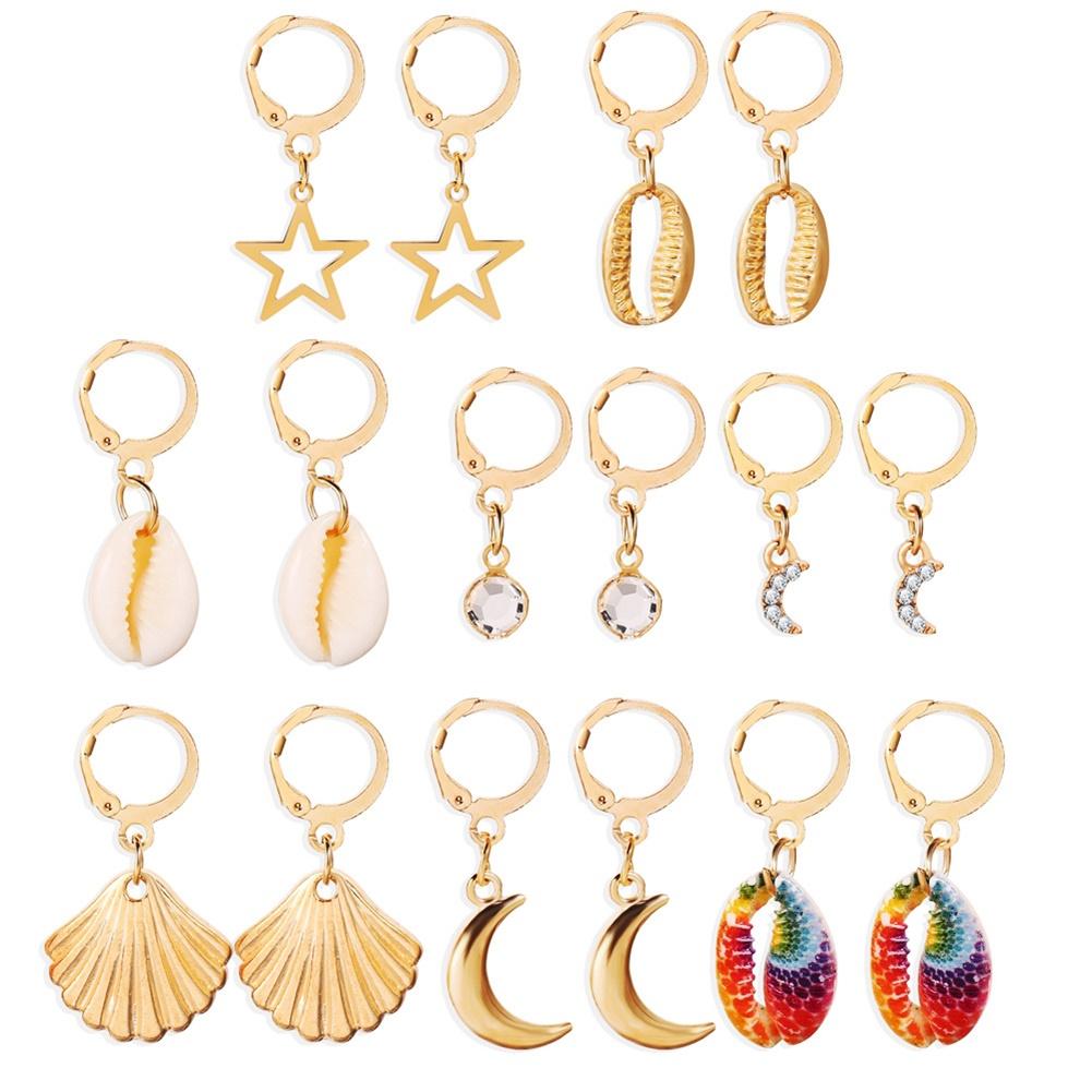 8 Pairs Of Men And Women Earrings Alloy Scallop Star Moon Shape Shell Earrings Set gold