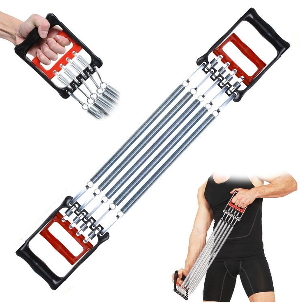 Portable Supply Chest Expander Sport Exercise Fitness Strength Exercise Resistance Elastic 5 Spring Resistance Bands  Black red
