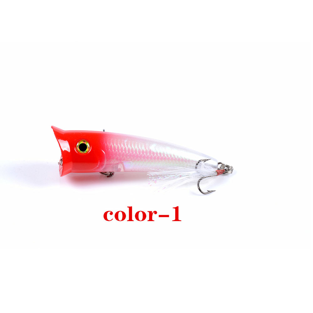 Fishing Lure 7.8cm 10.5g Topwater Wobbler Artificial Hard Bait with Feather Hook 1#