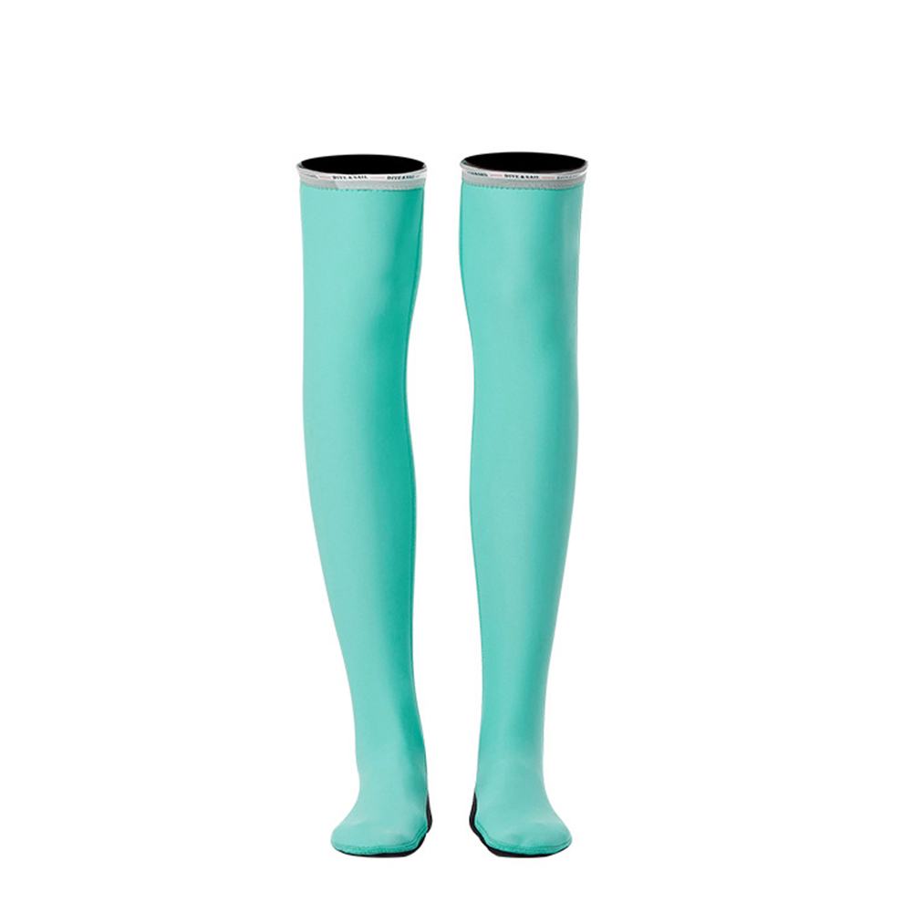 1.5MM Siamese Wet-type Warm Long Sleeve Jellyfish Swimming Surfing Stocking Suit Blue stockings_M