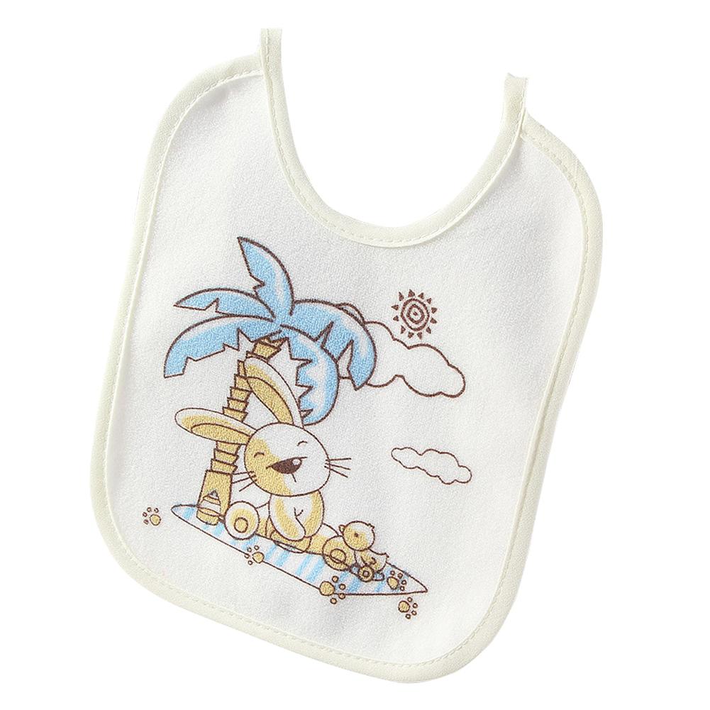 Infant Newborn Baby Bib Towel Waterproof Polyester Cotton Lovely Cartoon Printing yellow