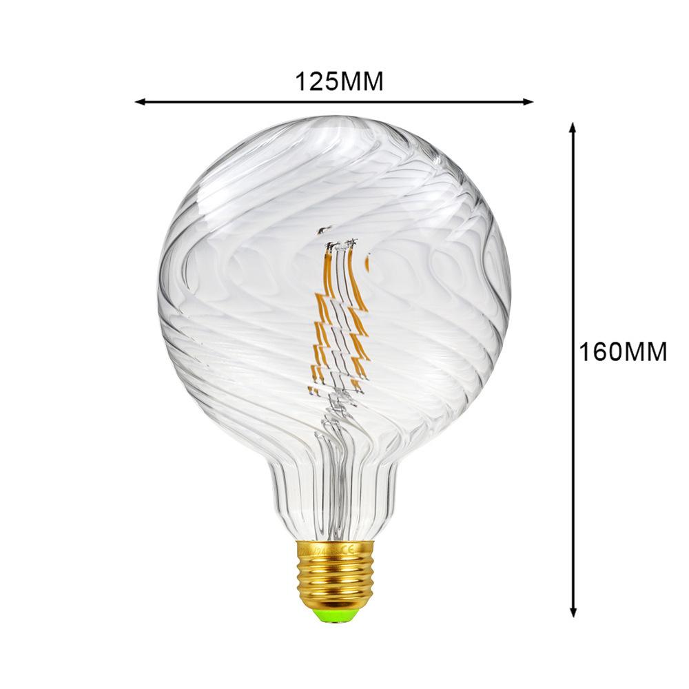 Glass G125 Edison Bulb E27 Retro Lamp for Hotel Cafe Decoration