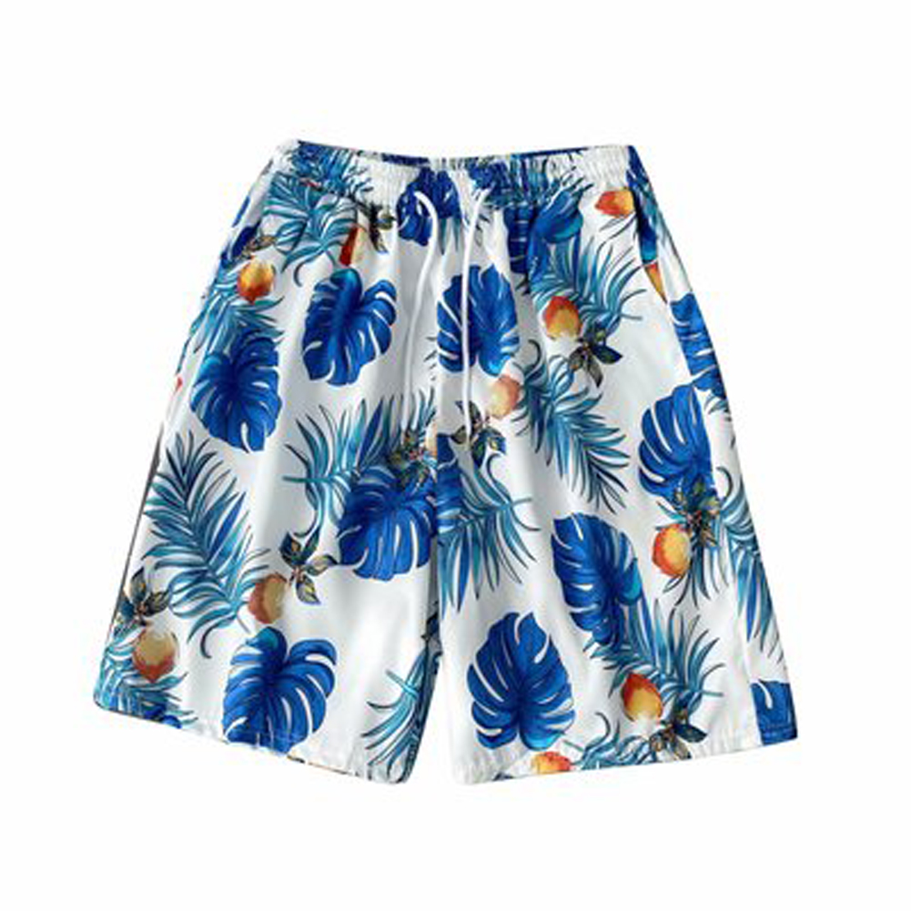 Beach  Pants Seaside Vacation Loose Couple Fifth-pants Boxer Swimming Trunks Flower Shorts White_XL