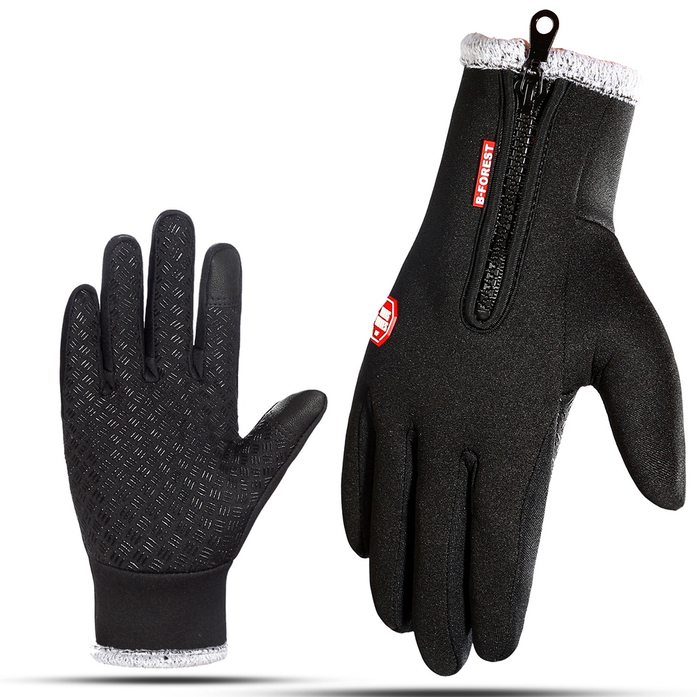 Winter Riding Gloves for Men Touch Screen Warm Windprood Thicken Simier Cotton Gloves black_L