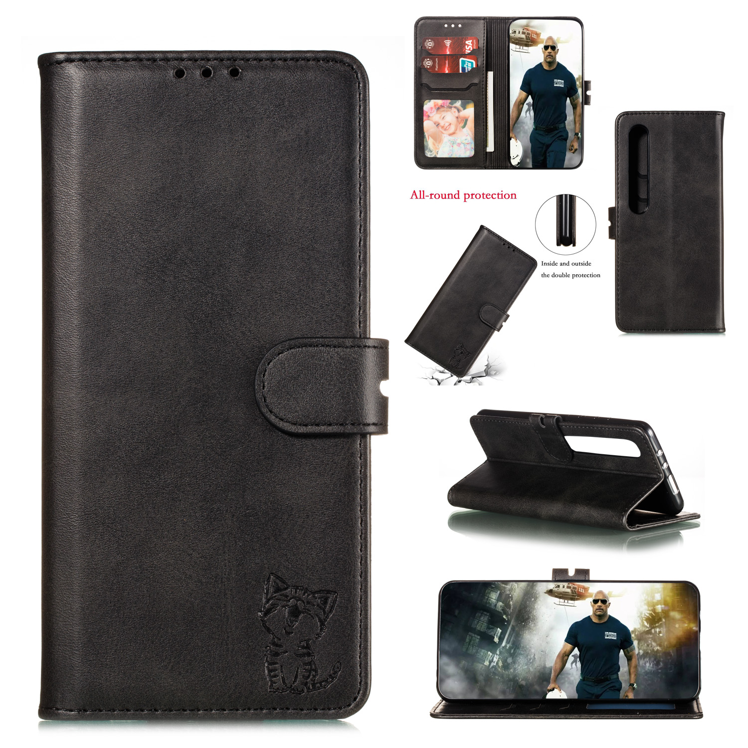 For XiaoMI 10 Pro Mobile Phone Cover PU Leather Front Buckle Smart Shell Anti-fall Phone Case 1 black
