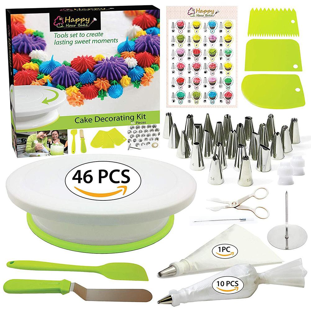 46Pcs/Pack Cake Decorating Kit Cake Turntable Set Plastic Baking Tool Cake DIY 46pcs/set