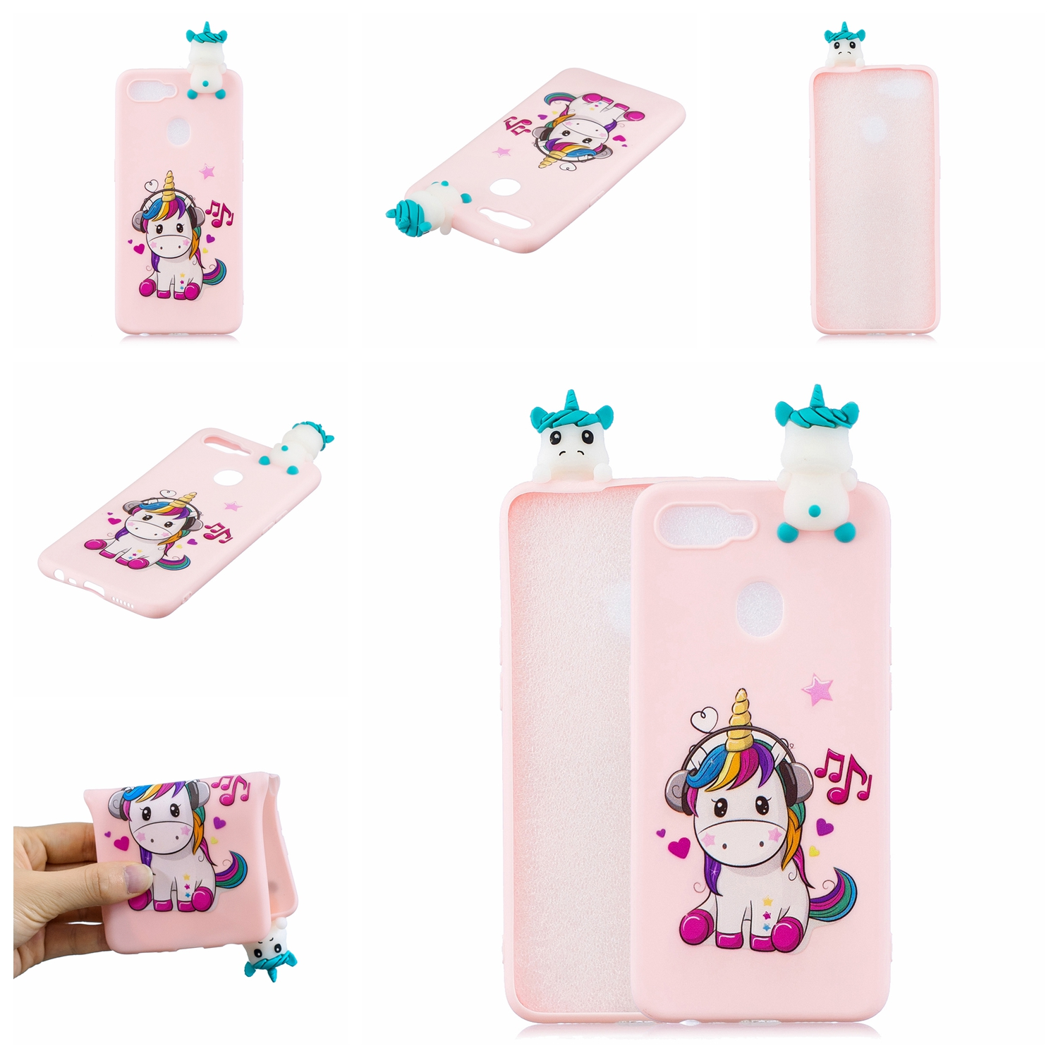 For OPPO F9/F9 PRO 3D Cute Coloured Painted Animal TPU Anti-scratch Non-slip Protective Cover Back Case Music unicorn