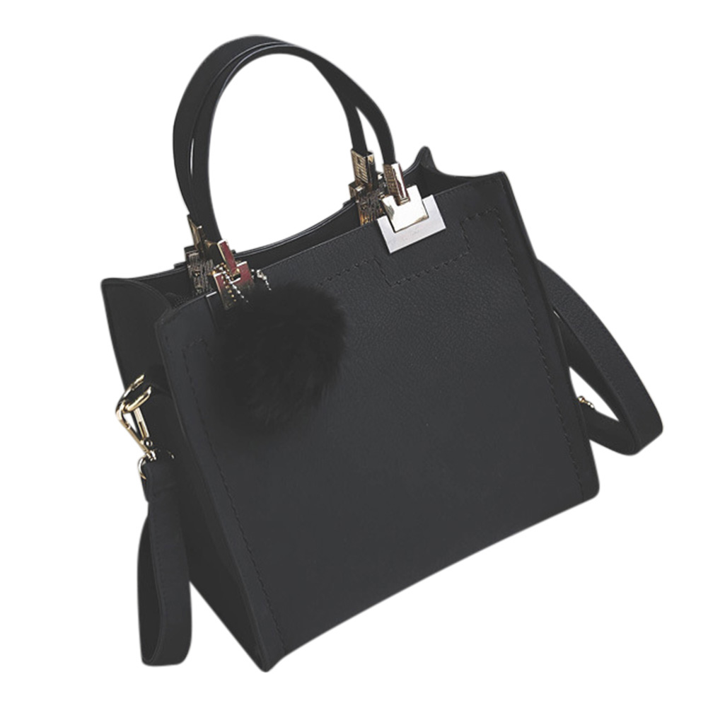 Fashion PU leather handbag Women Casual Large Tote Bag Lady Shoulder Messenger Bags With Fur Ball