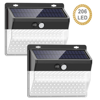 206LEDs Solar Light Pir Motion Sensor Decorative Wall Light Outdoor Waterproof Lamp For Garden Street Pathway 206 lights 1 pack