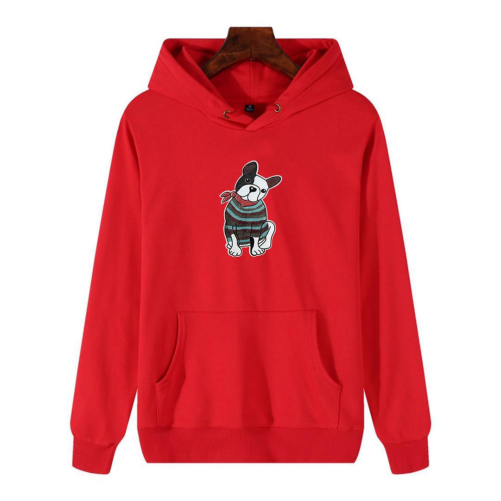 Men's Hoodie Fall Winter Cartoon Print Plus Size Hooded Tops Red _XL
