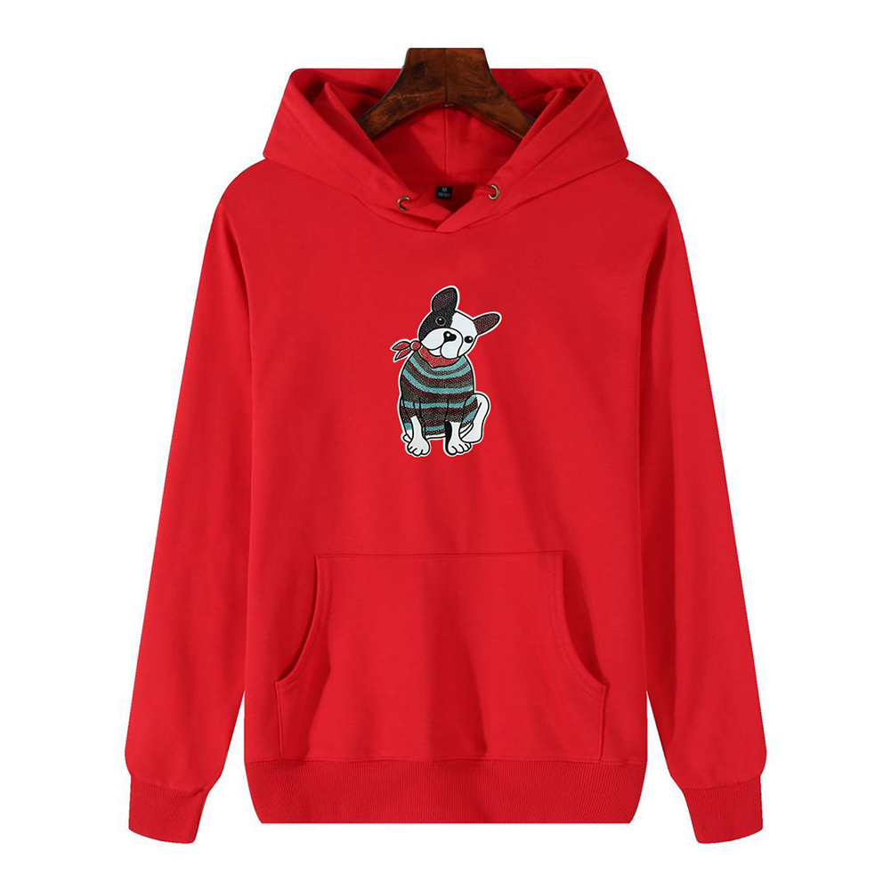 Men's Hoodie Fall Winter Cartoon Print Plus Size Hooded Tops Red _XXL