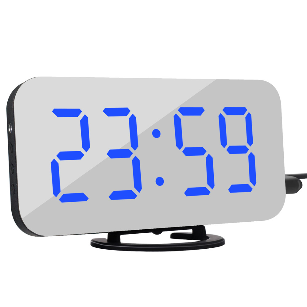 LED Mirror Electronic Alarm Clock Mini Cosmetic Mirror Bedside Clock with Black Shell Blue light