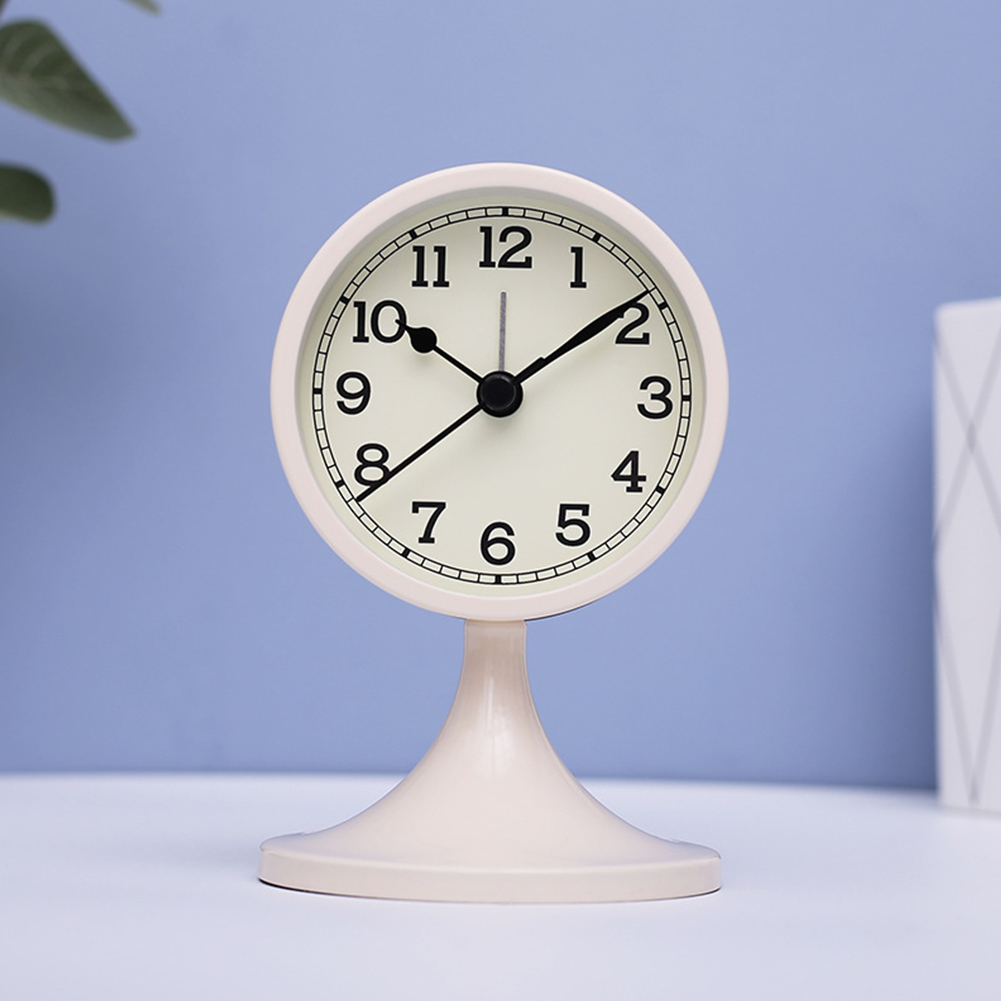 Simple Fashion Mute Metal Wake Up Alarm Clock for Living Room Bedroom(Not Including Battery) creamy white