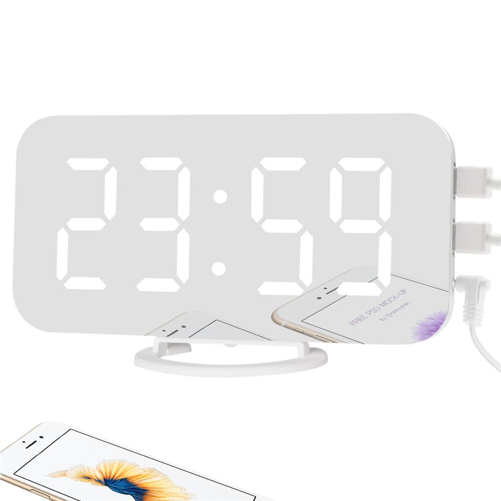 Multi-functional LED Mirror Electronic Alarm Clock for Bedroom Kitchen Office White Shell White light