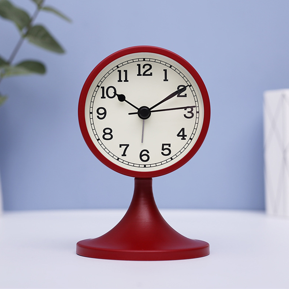 Simple Fashion Mute Metal Wake Up Alarm Clock for Living Room Bedroom(Not Including Battery) red