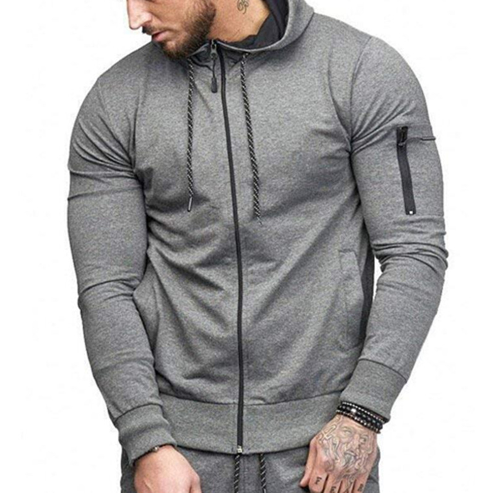 Men Slim Fit Sports Hoodies Zipper Closure Fashion Casual Jacket Sweatshirts Dark gray_XL