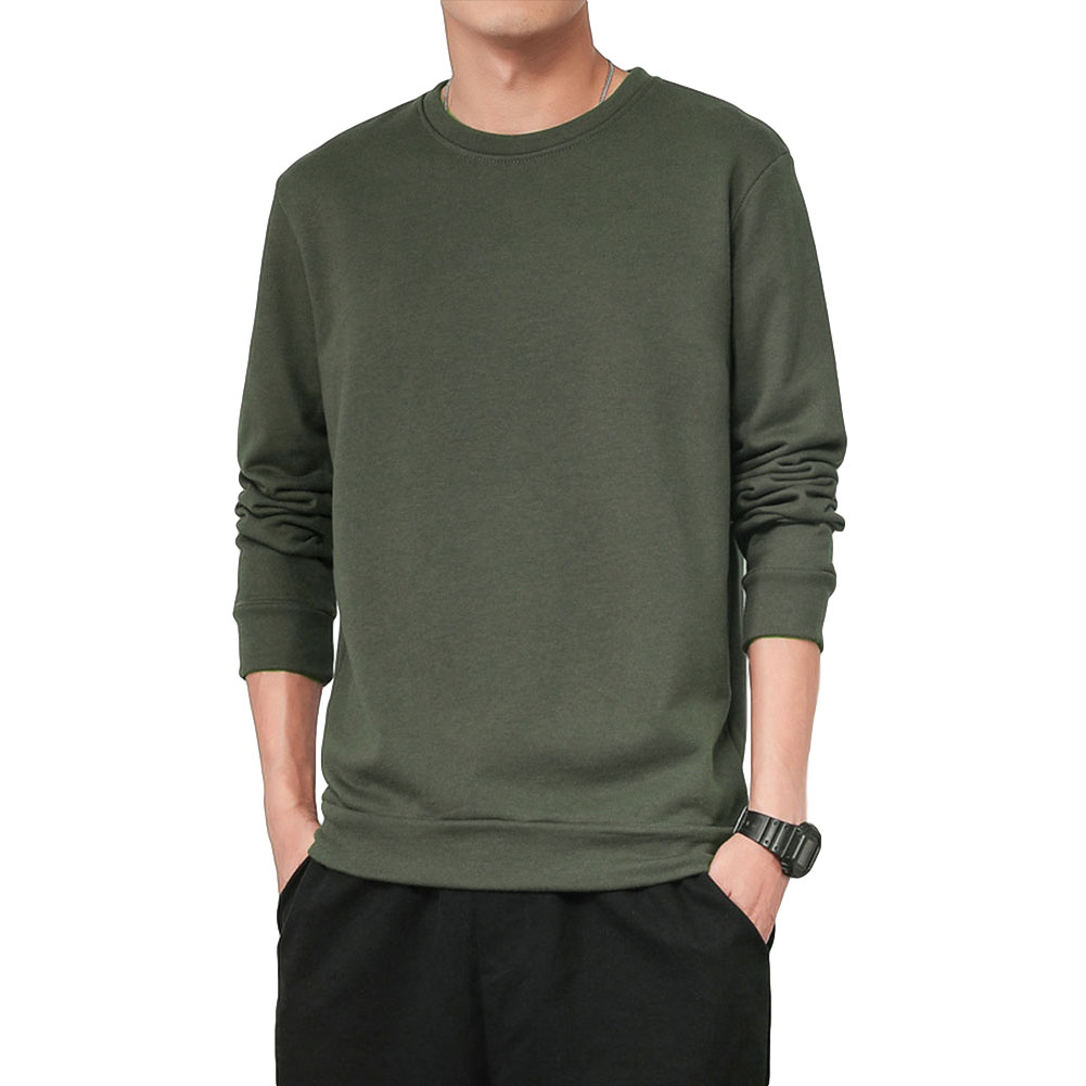 Men Spring Autumn Sweatshirts Casual Fashion Round Collar Coat ArmyGreen_XL