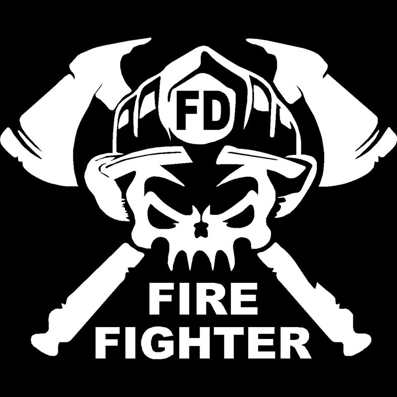 Fashion Fun Firefighter Occupation Car Funny Sticker White
