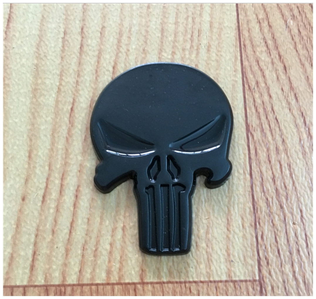Black Skull Punisher Car Styling Emblem Decal Badge Sticker Metal