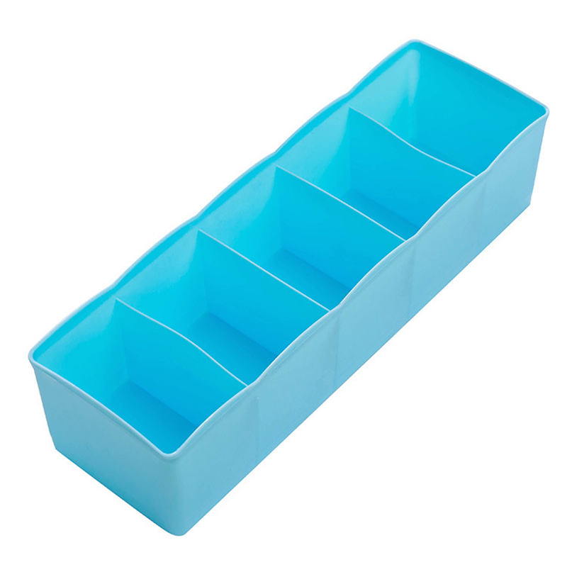 5 Cells Plastic Storage Box Tie Bra Socks Underwear Drawer Cosmetic Stationery Divider Tidy Organizer Blue