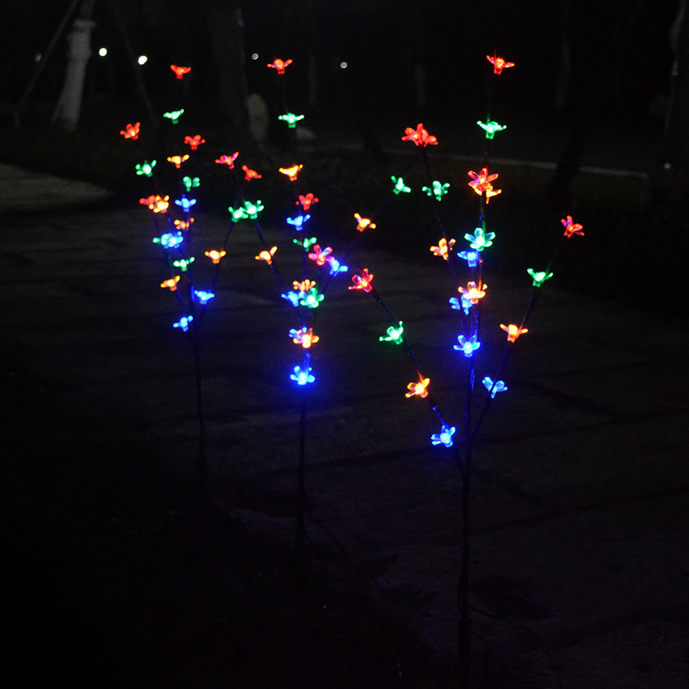 3 in 1 Solar Lamp Cherry Tree Shape LED Decoration Garden Lawn Light color