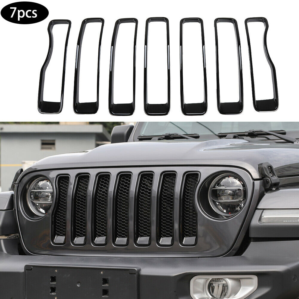 Exterior Front Grille Grill  Inserts  Cover  Trim Frame For Jeep Wrangler 2018+ Black