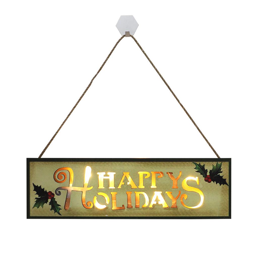 Christmas  Pendants Wooden Holiday English Letters Led Lights Christmas Decoration Crafts JM00622