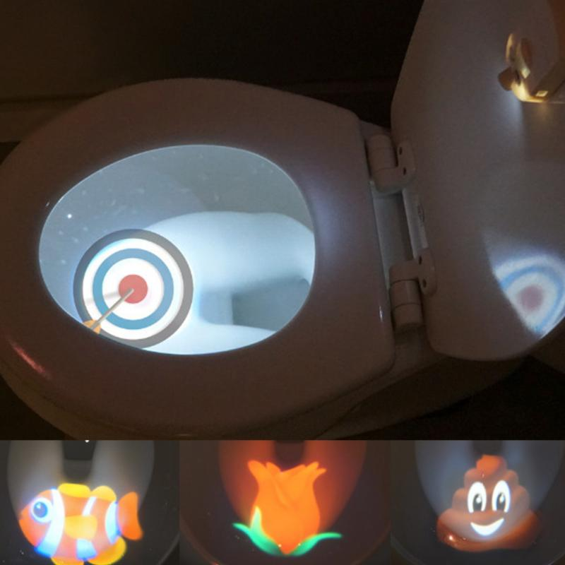 Cartoon Toddler Target Toilet Light Projection Lamp white