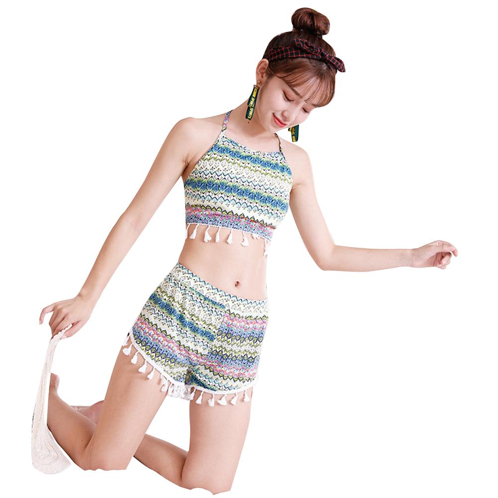 2 Pcs/set Women  Sexy  Split  Swimsuit Strap Slim Striped Tassels Hot Spring Swimwear green_M