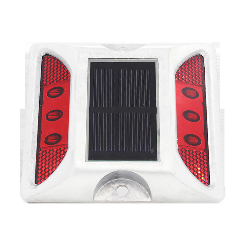 6LEDs Solar Road Stud Light Double Sided Cast Aluminum Lamp Red-always on