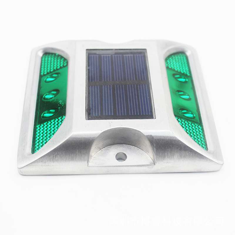 6LEDs Solar Road Stud Light Double Sided Cast Aluminum Lamp Green-always on