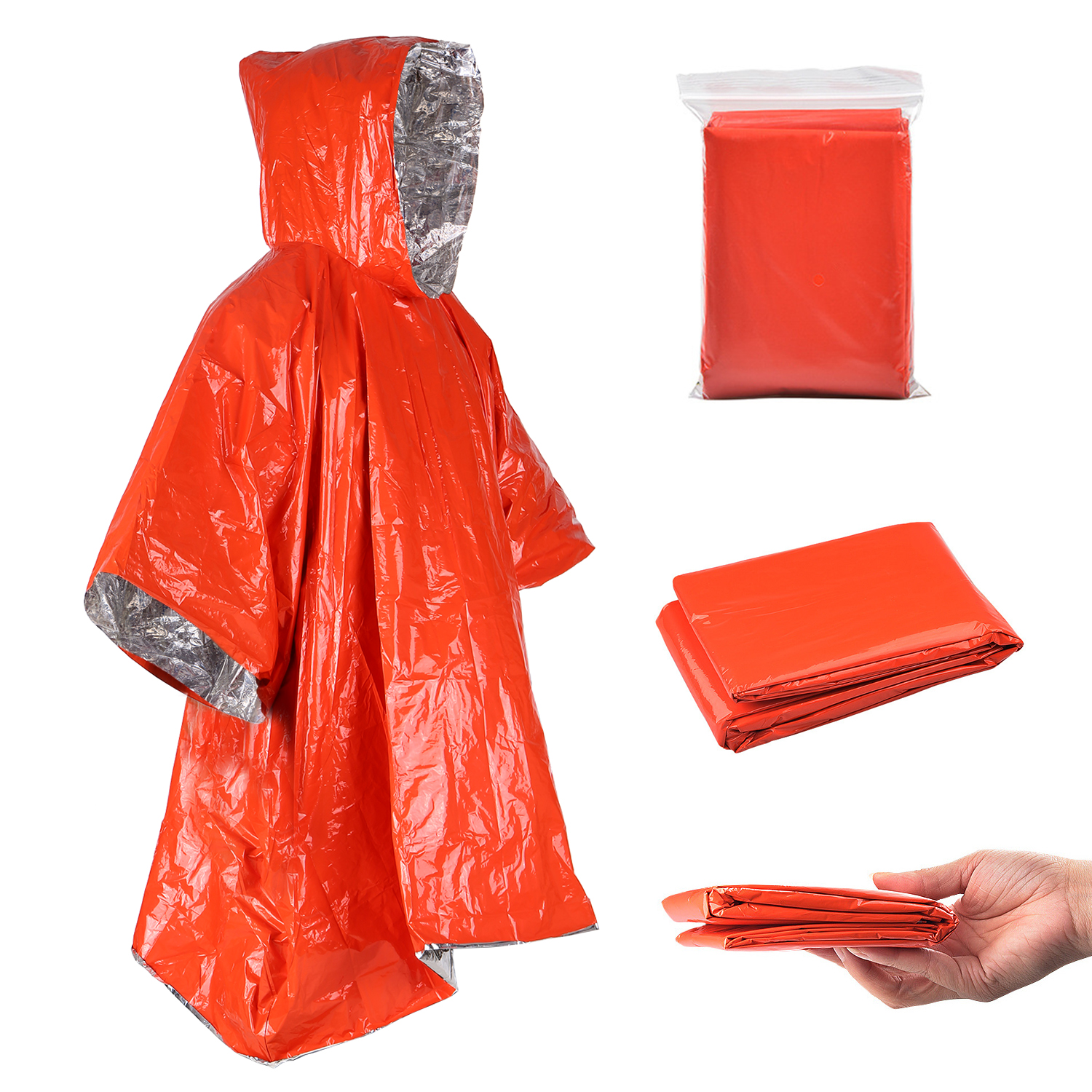 Orange Emergency Raincoat Aluminum Film Disposable Poncho Cold Insulation Rainwear Blankets Survival Tool Double-sided raincoat *1_124*101cm