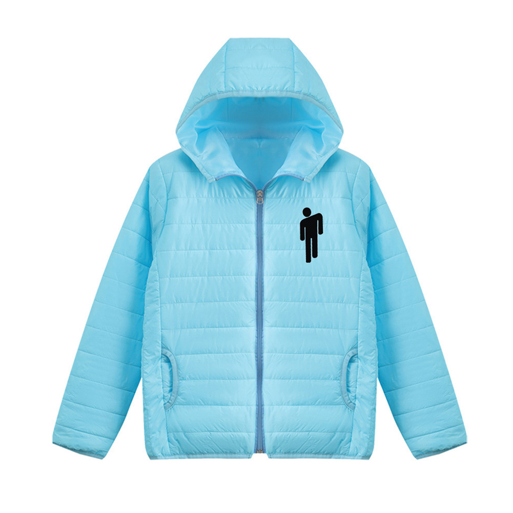 Thicken Short Padded Down Jackets Hoodie Cardigan Top Zippered Cardigan for Man and Woman Blue A_L