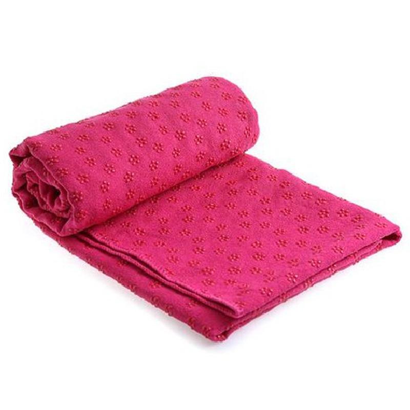 Yoga Mat Towel Non Slip Yoga Mat Cover Towel Blanket Sport Fitness Exercise Pilates Workout Rose red