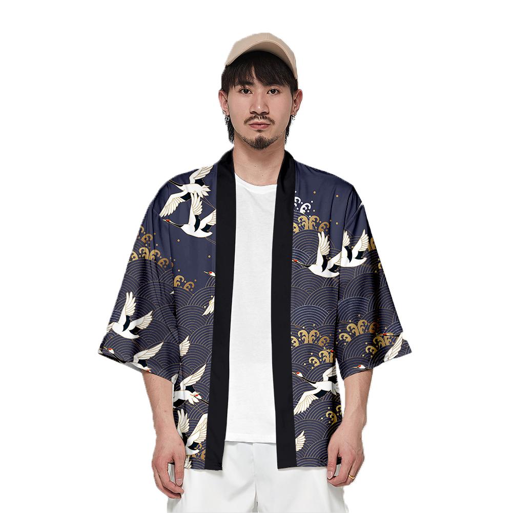 Unisex Fashion Summer Half Sleeve Loose Kimono Thin Sunscreen Robe Clothes V00023-3M25_L