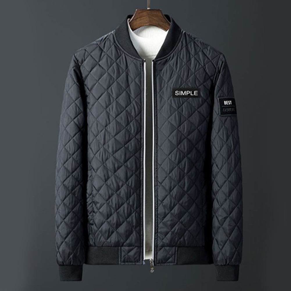 Men Winter Fashion Down Cotton Jacket Collar Jacket Cotton Coat Tops black_XXXL