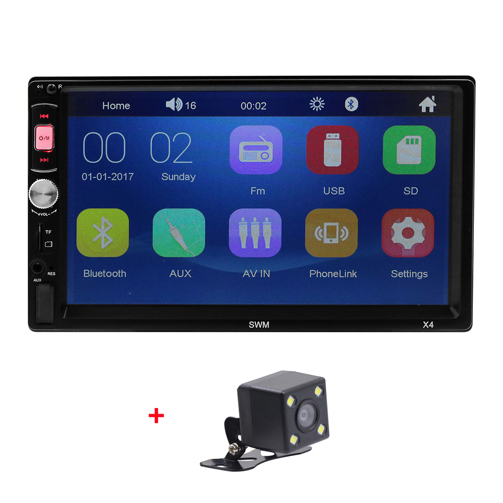 2Din Car Stereo MP5 Player 7 inch FM Radio Bluetooth 4.0 USB AUX Rear View Video Input Steering Wheel Learning Function With camera