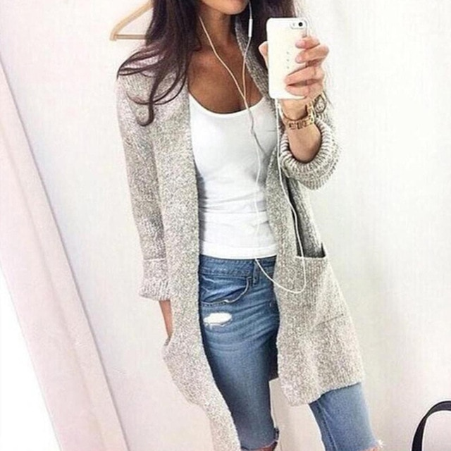 Fashion Women Knitted Sweater Casual Cardigan Long Sleeve Jacket Coat Outwear Tops Plus Size 5XL FS99