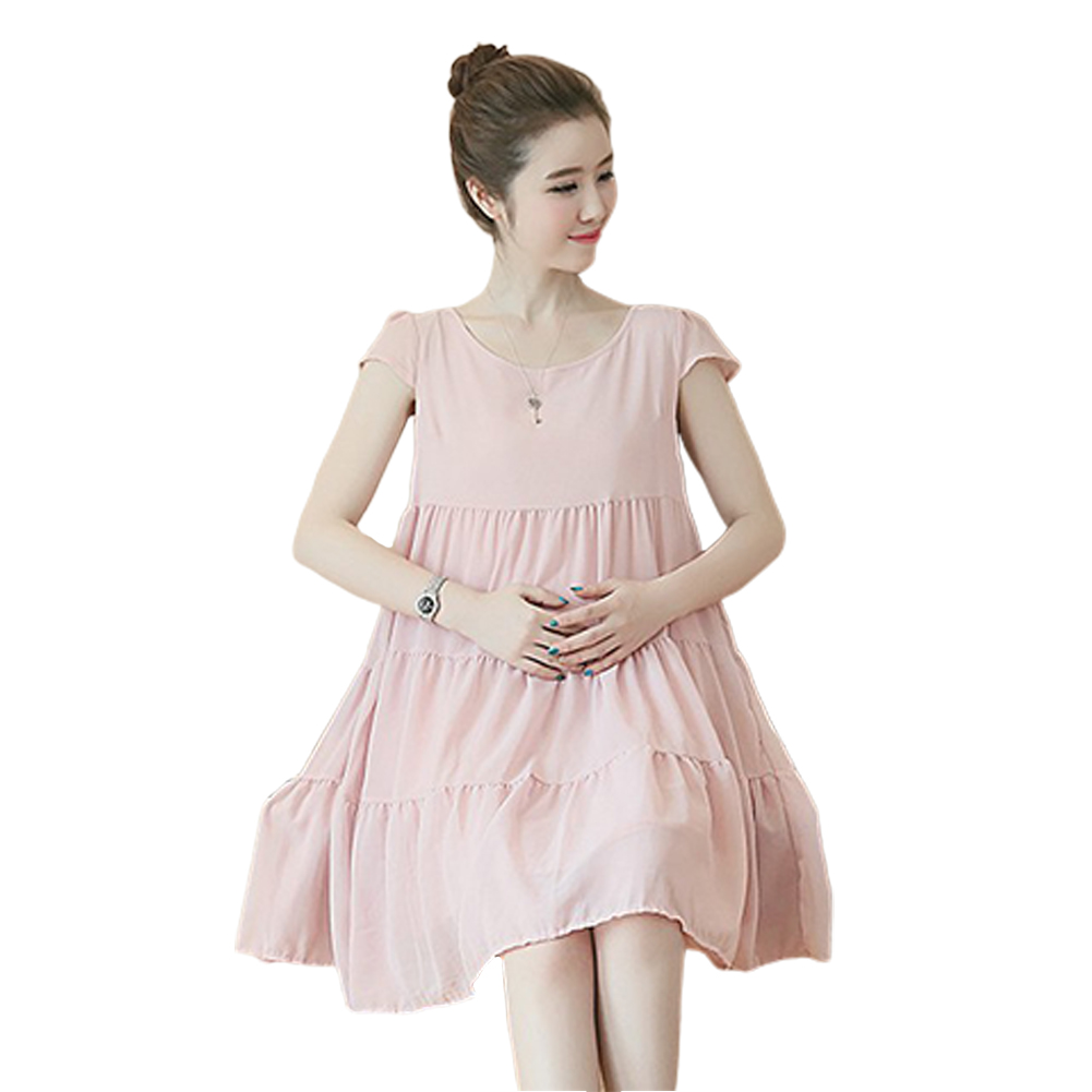Maternity Dress Chiffon Sweet Pleated Dress Loose Breathable Pregnant Woman Clothes Pink_L