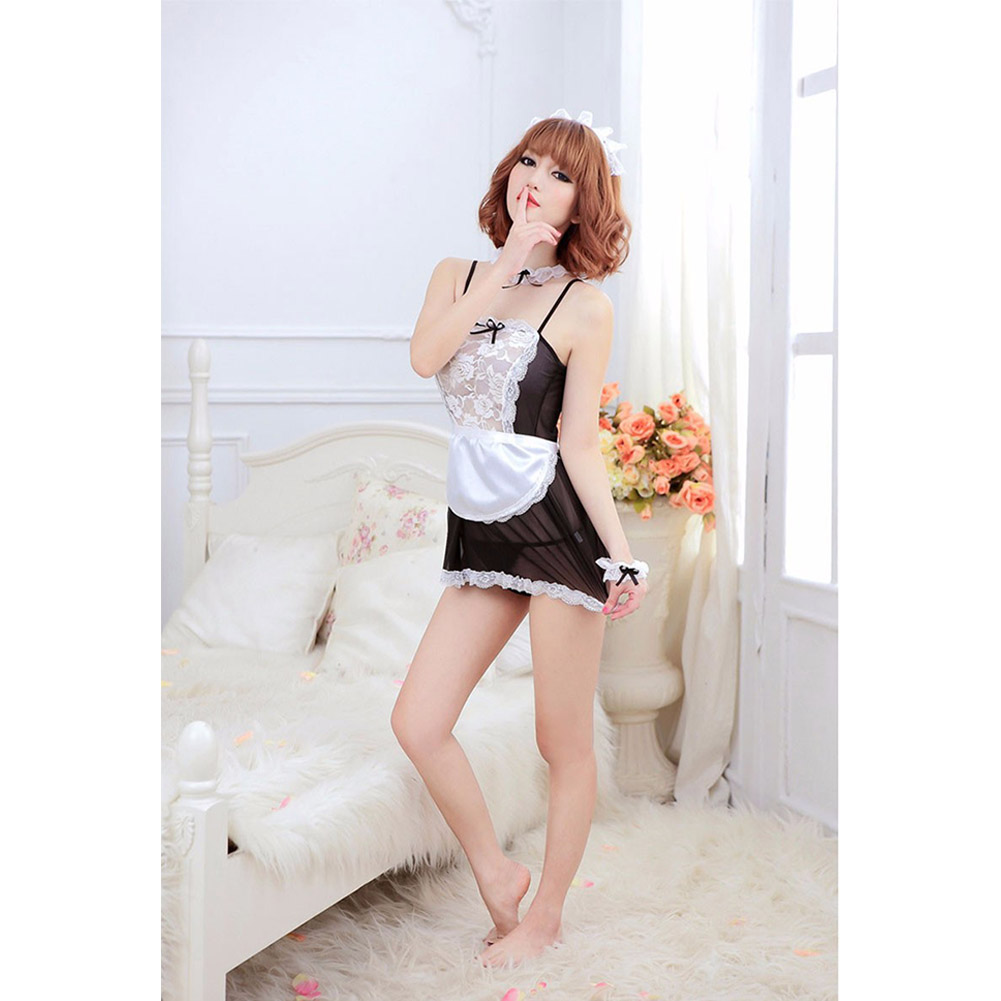 Women Sexy Lingerie Maid Uniform Costumes Role Play Sexy Underwear Lovely Female White Lace Erotic Costume One size_B