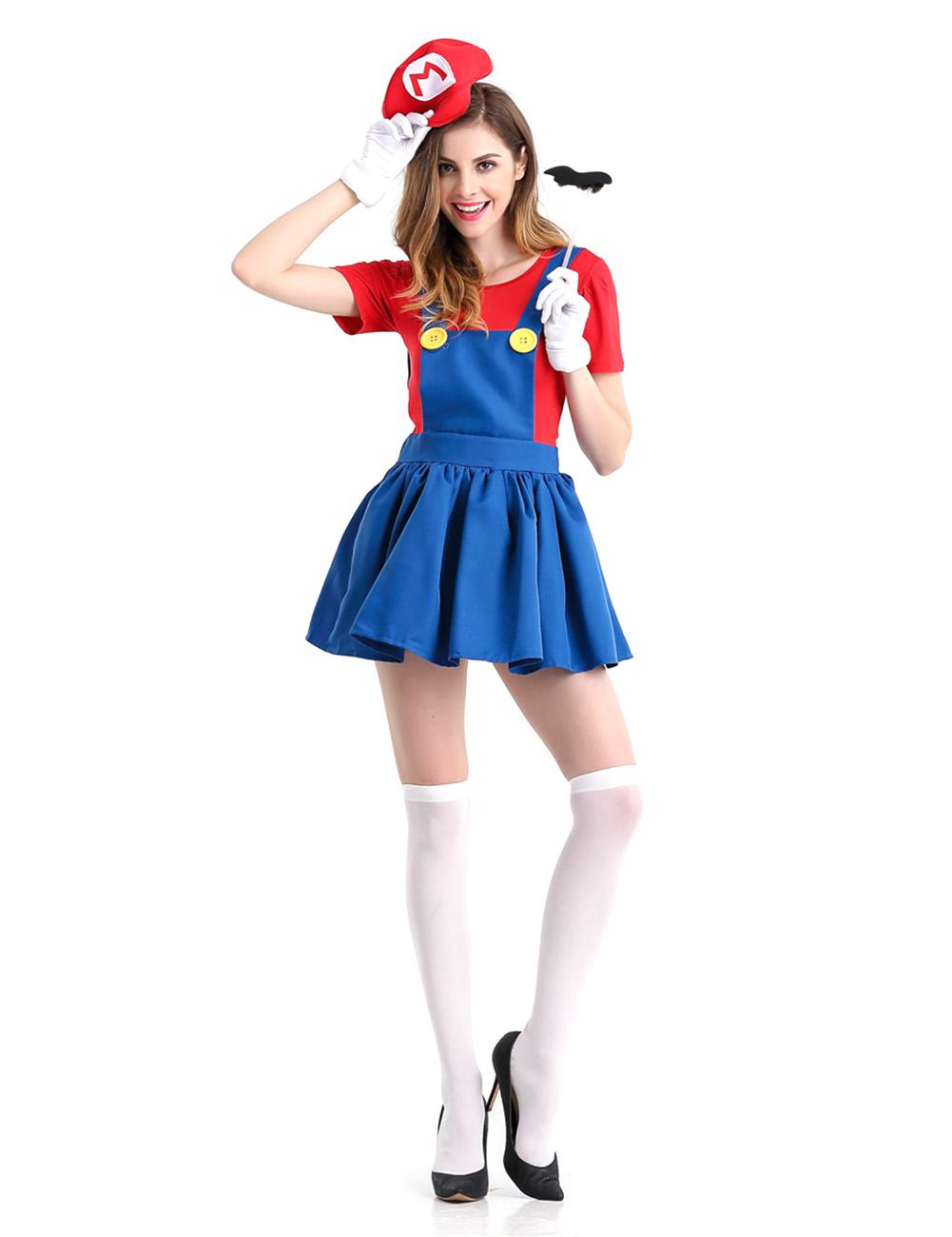 5PCS/Set Women Suspender Skirt Set Stylish Performance Costume for Halloween Fancy Dress Ball red_XL
