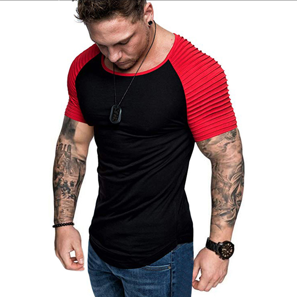 Men Casual Sports T-shirt Thin Slim Fashion Matching Color T-shirt Black with red_L
